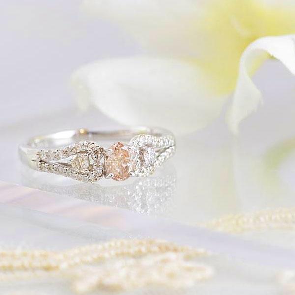 PT ピンクダイヤモンド デザインリング