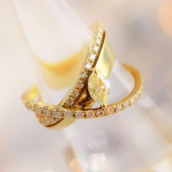 ダイヤモンド一個石デザインリング