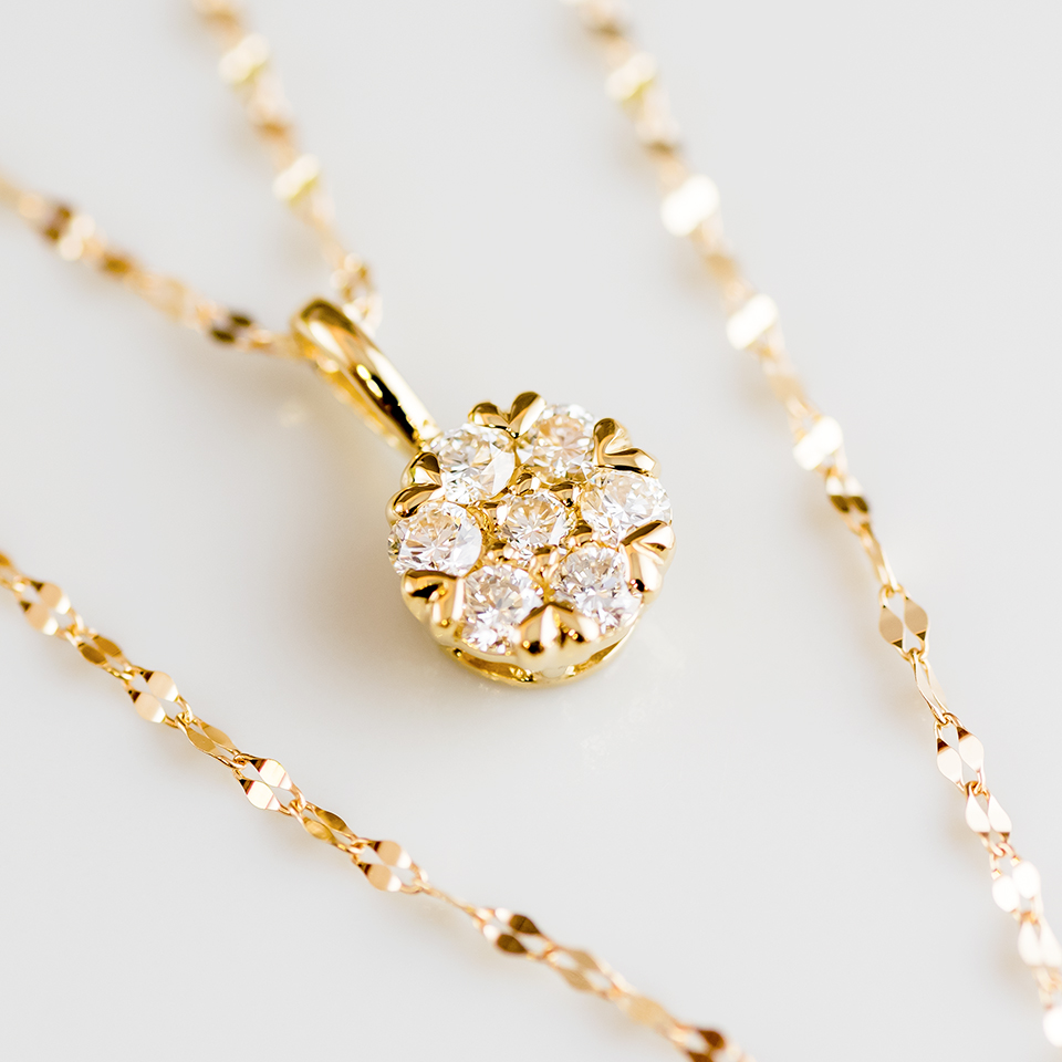 ラウンドデザインのダイヤモンドネックレス