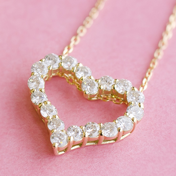 オープンハートダイヤモンド ネックレス