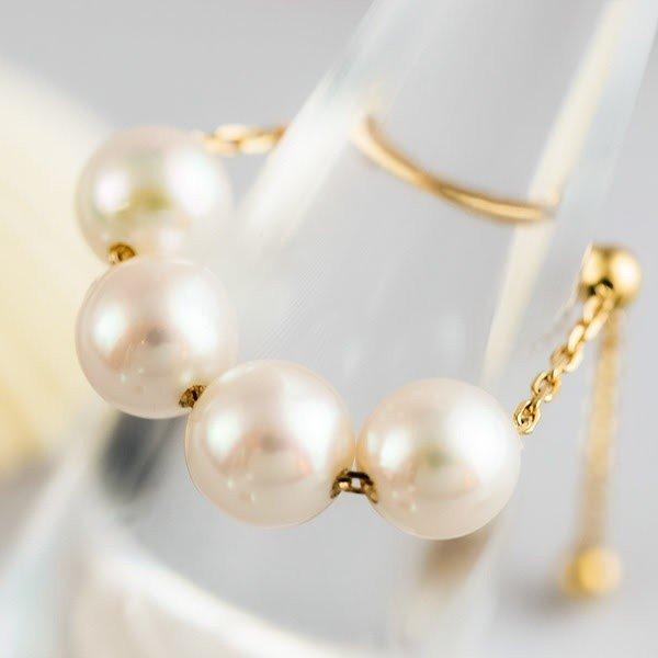 天然のアコヤ本真珠を4つ使用した贅沢リング